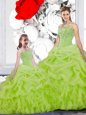 Organza Spaghetti Straps Sleeveless Lace Up Beading and Ruffles and Pick Ups Quince Ball Gowns in Yellow Green
