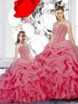 Rose Pink Ball Gowns Organza Straps Sleeveless Beading and Ruffles and Pick Ups Floor Length Lace Up Quinceanera Gown