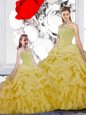 Straps Sleeveless Beading and Ruffles and Pick Ups Lace Up Quince Ball Gowns