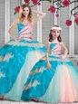 Designer Multi-color Sleeveless Beading and Ruching Floor Length Quinceanera Dresses