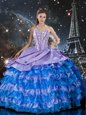 Multi-color Quinceanera Gowns Military Ball and Sweet 16 and Quinceanera and For with Beading and Ruffles Sweetheart Sleeveless Lace Up