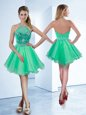 Dramatic A-line Prom Evening Gown Turquoise Halter Top Organza Sleeveless Knee Length Zipper