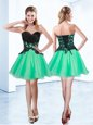 Turquoise Lace Up Sweetheart Appliques Homecoming Dresses Organza Sleeveless