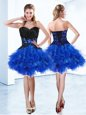 Royal Blue Sleeveless Mini Length Appliques and Ruffles Lace Up Cocktail Dresses