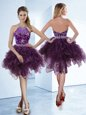 Halter Top Organza Sleeveless Knee Length Prom Gown and Beading