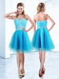 Blue Sweetheart Neckline Beading and Ruching Prom Party Dress Sleeveless Lace Up