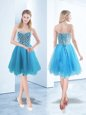 Hot Selling Blue Sweetheart Lace Up Beading Prom Gown Sleeveless