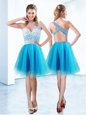 One Shoulder Knee Length Criss Cross Prom Dresses Baby Blue and In for Prom and Party with Beading