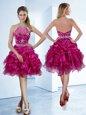 Vintage Organza Halter Top Sleeveless Zipper Beading and Ruffles and Pick Ups Prom Evening Gown in Fuchsia