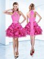 Halter Top Hot Pink Organza Zipper Prom Evening Gown Sleeveless Mini Length Ruffles and Ruching and Belt