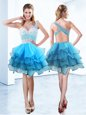 Customized Aqua Blue Sweetheart Lace Up Ruffles Prom Evening Gown Sleeveless