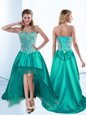 Satin Sleeveless High Low Prom Dress and Beading and Bowknot