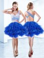Sophisticated One Shoulder Beading and Ruffles Club Wear Royal Blue Criss Cross Sleeveless Knee Length
