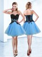 Blue And Black Sweetheart Neckline Appliques Prom Dress Sleeveless Lace Up
