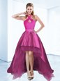Lovely Halter Top Satin Sleeveless High Low Mother Of The Bride Dress and Ruching and Bowknot and Belt