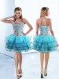 Ruffled Knee Length A-line Sleeveless Baby Blue Evening Dress Lace Up