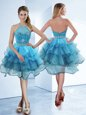 Hot Sale Halter Top Baby Blue Zipper Prom Dresses Beading and Ruffled Layers Sleeveless Tea Length