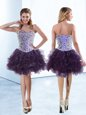 Knee Length Purple Cocktail Dresses Organza Sleeveless Beading and Ruffles