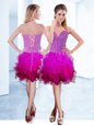 Dazzling Fuchsia Sleeveless Ruffles Knee Length Prom Evening Gown