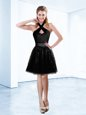 Charming Black Tulle Zipper Halter Top Sleeveless Knee Length Mother Of The Bride Dress Sequins and Belt