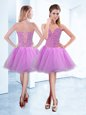 Latest Lilac Sweetheart Lace Up Beading Prom Dress Sleeveless