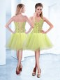 Knee Length Lace Up Cocktail Dresses Yellow Green and In for Prom and Party with Beading
