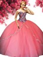 Hot Pink Ball Gowns Sweetheart Sleeveless Organza Floor Length Lace Up Beading and Ruffles Sweet 16 Dresses