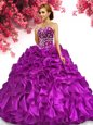 Stunning Fuchsia Sweetheart Neckline Beading and Ruffles Sweet 16 Quinceanera Dress Sleeveless Lace Up
