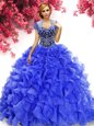 High Class Red Ball Gowns Beading Quince Ball Gowns Lace Up Tulle Sleeveless Floor Length
