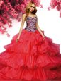 Fashion Red Sweetheart Lace Up Beading and Ruffled Layers 15th Birthday Dress Brush Train Sleeveless