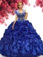 Classical Royal Blue Ball Gowns Beading and Ruffles 15 Quinceanera Dress Lace Up Organza Sleeveless Floor Length