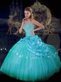 Sleeveless Taffeta and Tulle Floor Length Lace Up Quinceanera Dresses in Blue for with Beading and Pick Ups