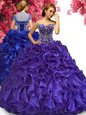 Ideal Sleeveless Lace Up Floor Length Beading and Ruffles Vestidos de Quinceanera