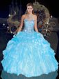 Blue Lace Up Ball Gown Prom Dress Beading and Ruffles Sleeveless Floor Length