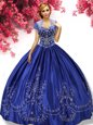 Perfect Floor Length Royal Blue Ball Gown Prom Dress Sweetheart Sleeveless Lace Up