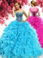 Ball Gowns Quinceanera Dresses Aqua Blue Sweetheart Organza Sleeveless Floor Length Lace Up