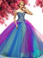 Sweetheart Sleeveless Quinceanera Dress Floor Length Beading Multi-color Tulle