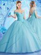Off the Shoulder Tulle Sleeveless With Train Quinceanera Dresses Brush Train and Beading