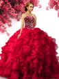 Charming Sleeveless Organza Floor Length Lace Up Sweet 16 Dress in Red for with Beading and Ruffles