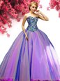 Sleeveless Tulle Floor Length Lace Up Quinceanera Dresses in Multi-color for with Beading