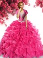 Sweep Train Ball Gowns 15 Quinceanera Dress Hot Pink Sweetheart Organza Sleeveless With Train Lace Up