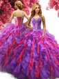 Floor Length Multi-color Quince Ball Gowns Sweetheart Sleeveless Lace Up
