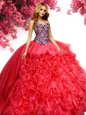 Inexpensive Sleeveless Organza Floor Length Lace Up Ball Gown Prom Dress in Red for with Beading and Ruffles