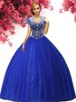 Royal Blue Sleeveless Tulle Lace Up Quinceanera Dress for Military Ball and Sweet 16 and Quinceanera