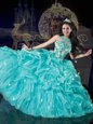 Aqua Blue Sleeveless Beading and Appliques and Pick Ups Floor Length Quinceanera Dresses