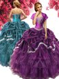 Custom Fit Floor Length Dark Purple Quinceanera Dress Organza and Taffeta Sleeveless Beading and Ruffles and Pick Ups