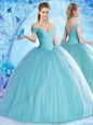 High Quality Off the Shoulder Beading Quince Ball Gowns Aqua Blue Lace Up Sleeveless Floor Length