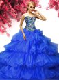 Sumptuous Ruffled Sweetheart Sleeveless Lace Up Ball Gown Prom Dress Royal Blue Organza