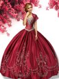 Hot Selling Wine Red Lace Up Sweetheart Embroidery Ball Gown Prom Dress Taffeta Sleeveless