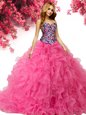 Floor Length Hot Pink 15 Quinceanera Dress Sweetheart Sleeveless Lace Up